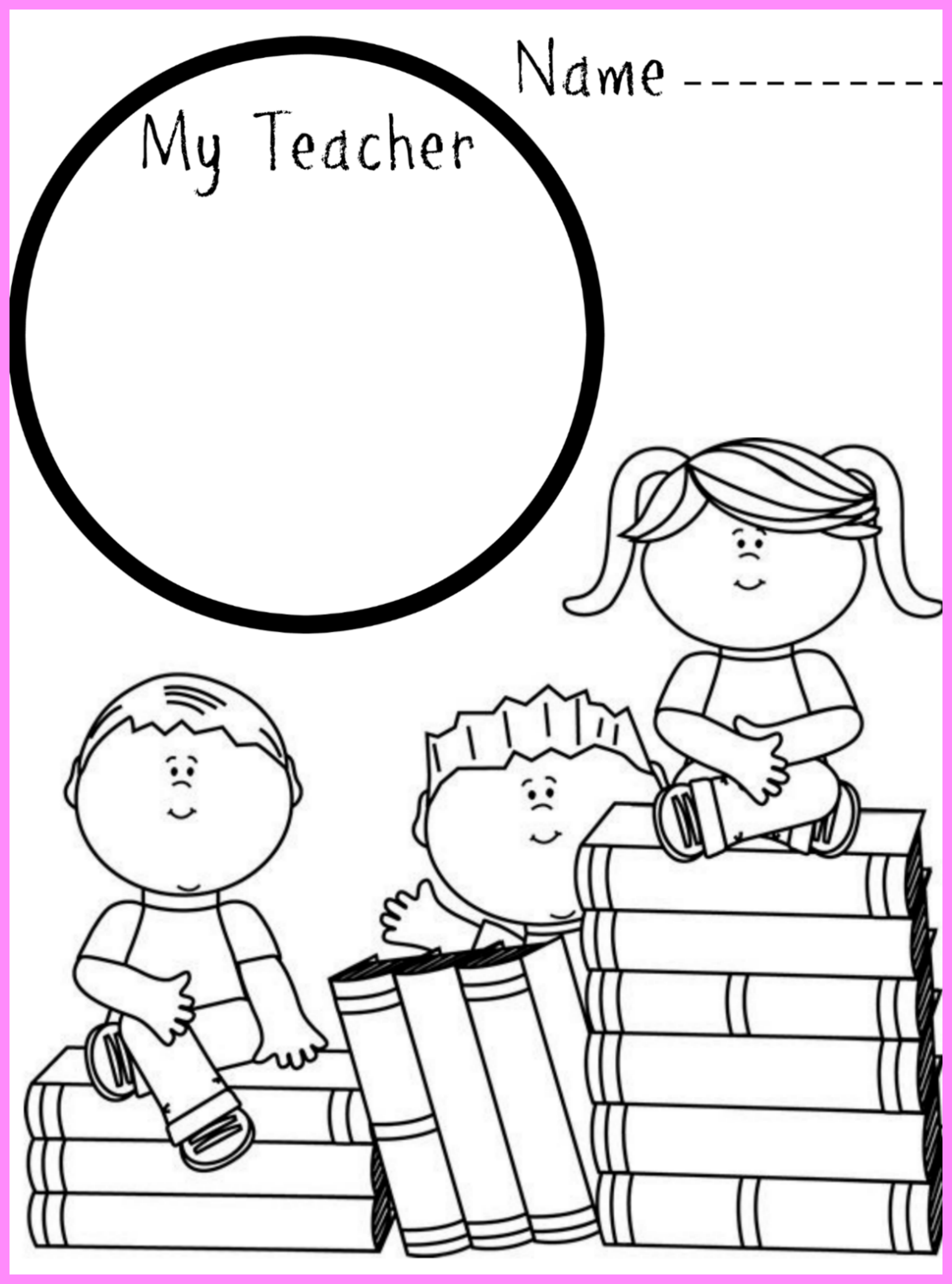 first day of school drawing and coloring printable - Children Printables