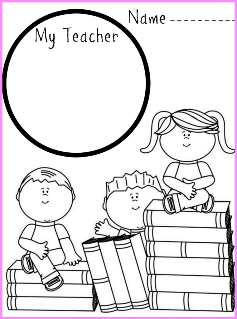 First day of school drawing and coloring printable