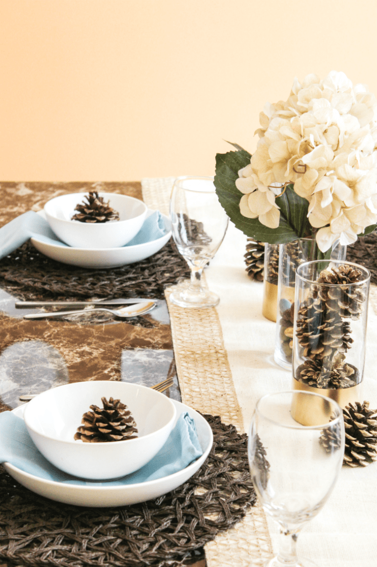 fall-tablescape-with-pinecones-and-faux-hydrangeas