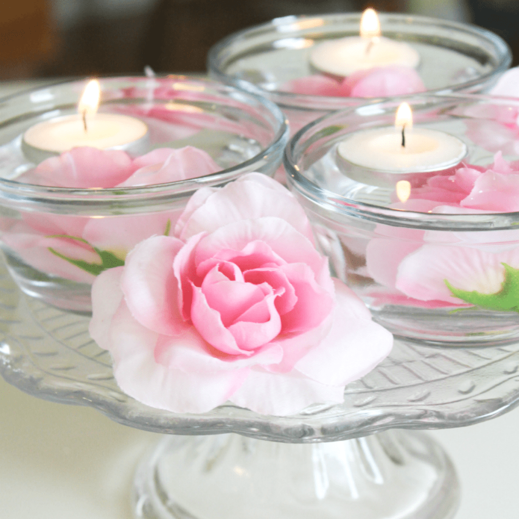 Pretty in Pink Spring Floating Candle Centerpiece