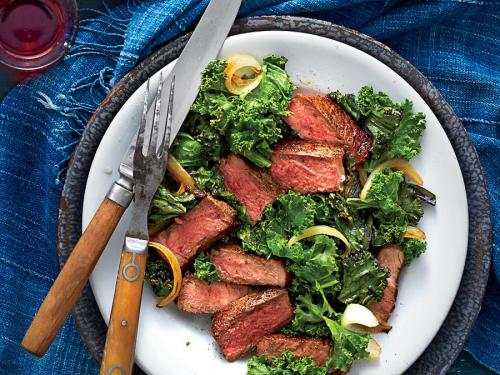 20 Minute Steak with Kale. Pro Stylist: Heather Chadduck Hillegas. Food Stylist: Erin Merhar. Art Director: Robert Perino Photo Editor: Paden Reich