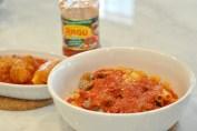 Baked Ziti and Fried Cheese Recipe Ragu Pasta Sauce Recipes #simmeredintradition #ragu Bowl of baked ziti with Ragu