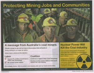 Coal miners feel threatened by nuclear energy