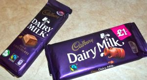 Cadbury's Dairy Milk as purchased in the Republic of Ireland (L) and Northern Ireland (R)