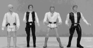 Luke Skywalker and Han Solo in 1978 (left); Luke Skywalker and Han Solo in1998 (right)