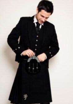 A black, modern kilt