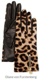 Diane von Furstenberg - Leopard-Print Calf Hair and Leather Gloves