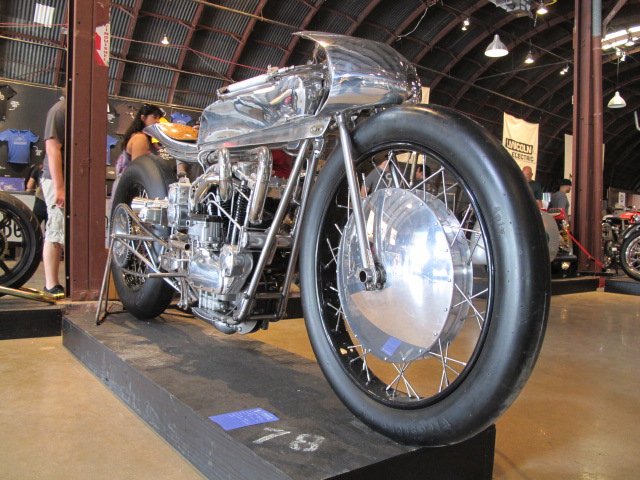 Supercharged 1965 Harley XLCH at Homebuilt Motorcyle Show in Austin TX
