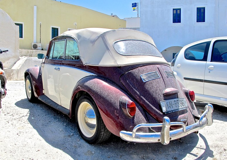 Classic VW convertible in Santorini, Greece, rear view