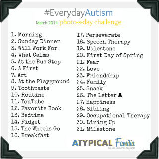 #EverydayAutism Photo-a-day Instagram Challenge {March 2014}