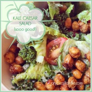 Kale Caesar Salad with Roasted Chick Peas