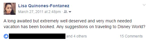 FB Status Update Disney World