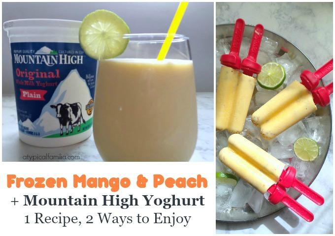 Frozen Mango Peach Yogurt and Smoothie via Atypical Familia by Lisa Quinoes Fontanez