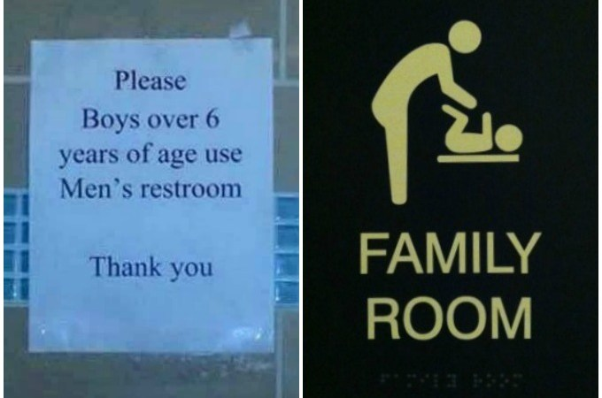 (L) Photo posted on Public Facebook page (R) Photo I took of Family Bathroom sign at Ridge Hill in Westchester