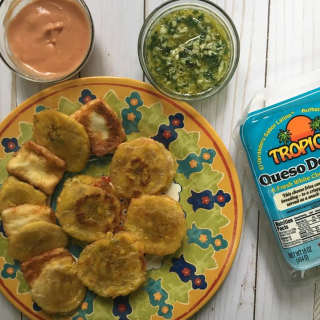 Caribbean Inspired Grilled Cheese | Tostones with Tropical Cheese Queso de Freir