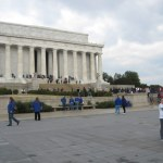 Running by the Lincoln Memorial (and a high school marching band).