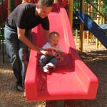 Cooper's current playground favorite is the slide.