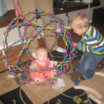 Ellen inside the Hoberman Sphere.