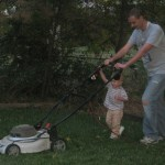 Cooper helping Noel mow the lawn. Can't wait till he can do it all by himself.