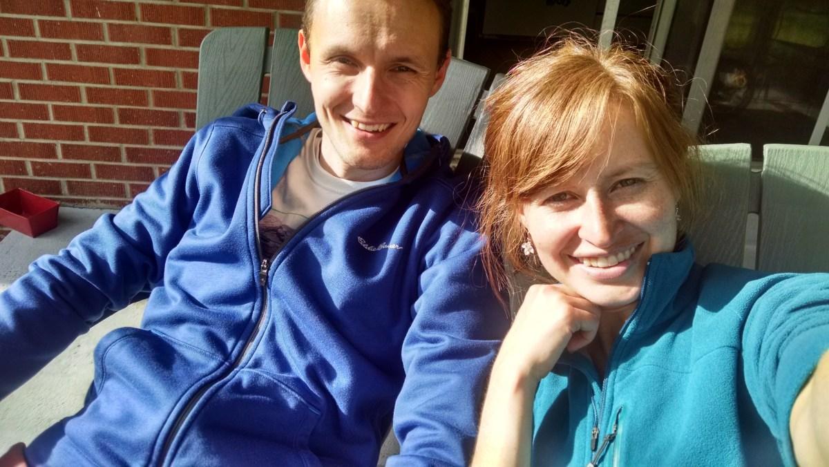 Noel and I soaking up the sun Wall-E style.