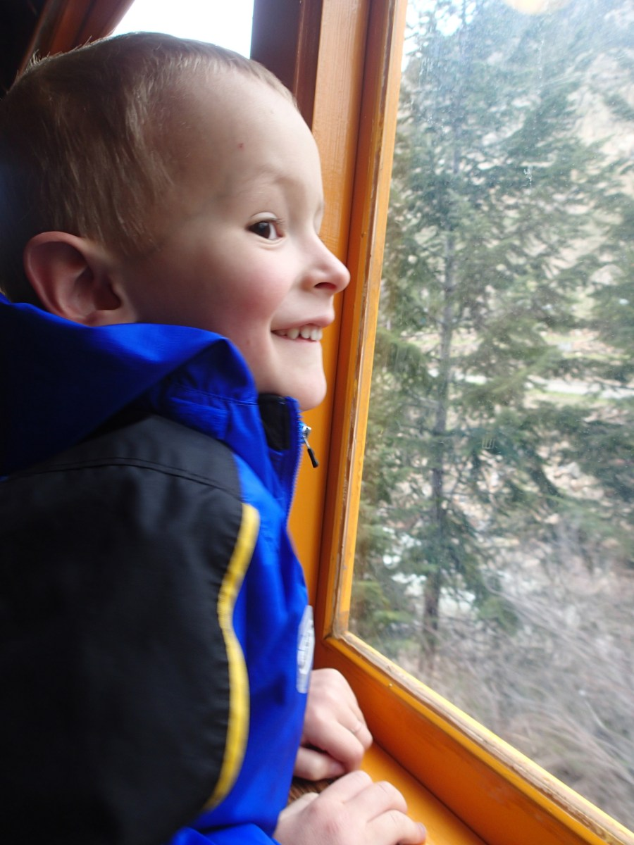He was SOOOO excited to ride the train.