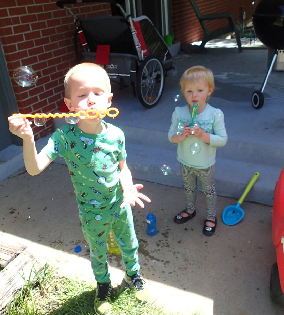 Reveling in the first official sunny DAY. (It was pj day at school, don't judge.)