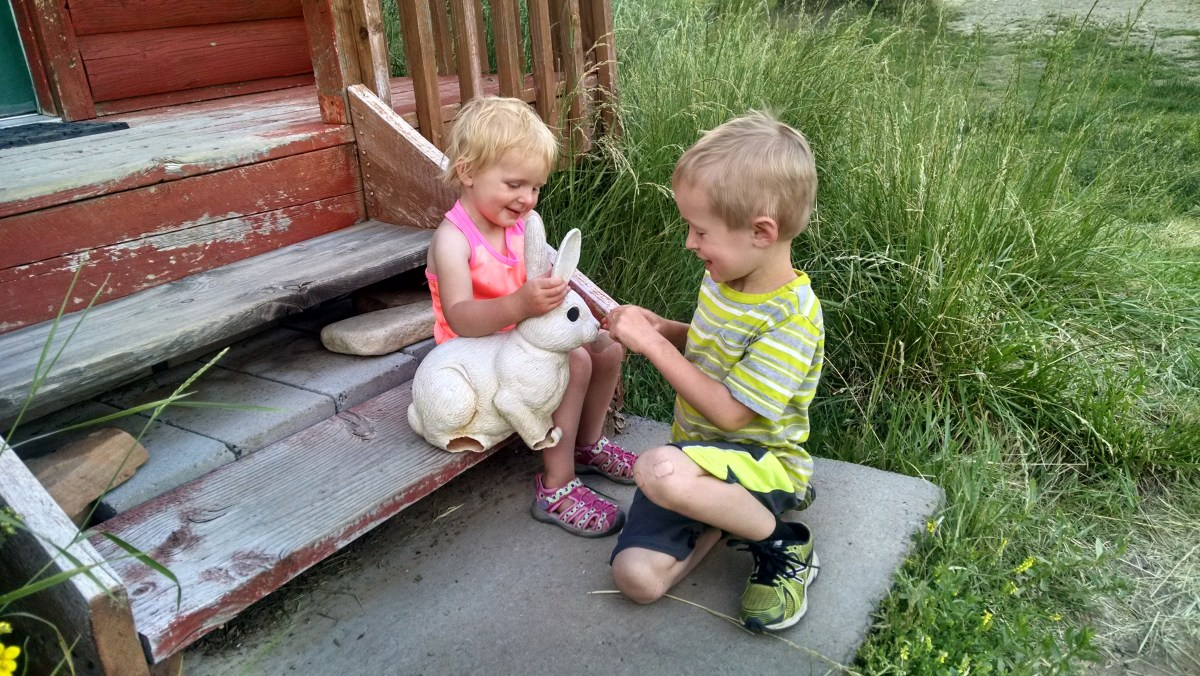 The kids were really enamored with the fake bunny at the cabin.