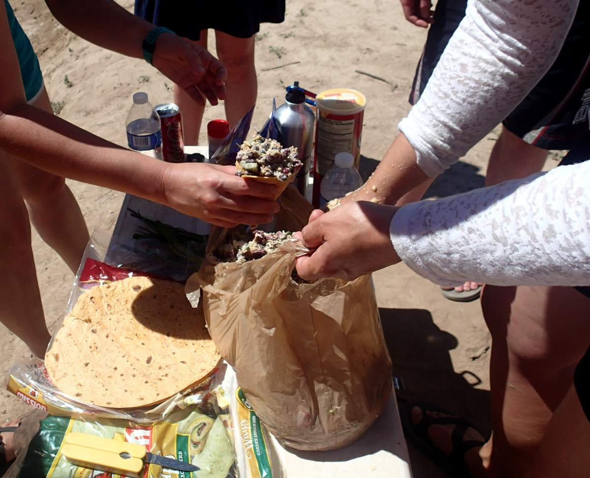"""Our """"mexicone"""" lunch made out of grocery sacks. Basically, burrito fillings in a tortilla shaped into a cone."""