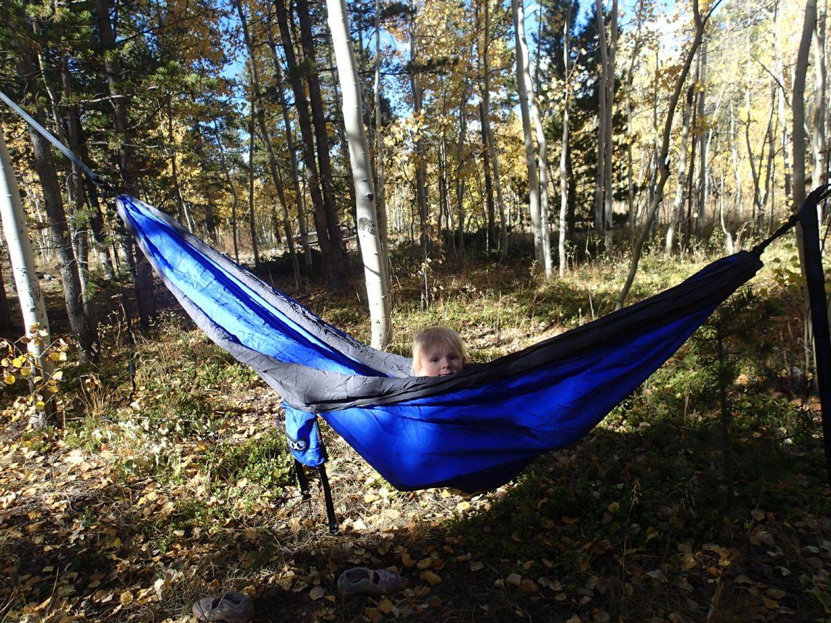 Ellen enjoying the hammock on our fall camping trip.