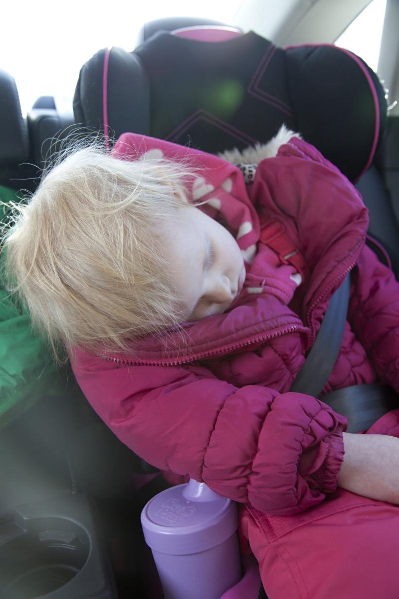 As predicted, Ellen fell asleep on the ride home.