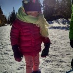 Snowshoeing take 2. Ellen all bundled up and ready to go.