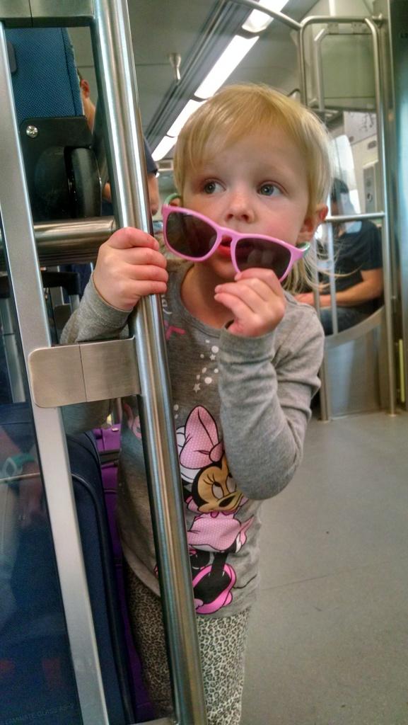 Ellen looking super cool on the train.