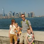 Family picture in front of the Manhattan Skyline.