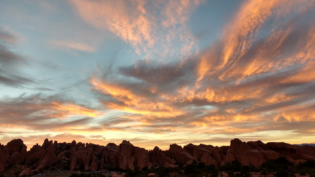 Another pic of sunset at Arches.
