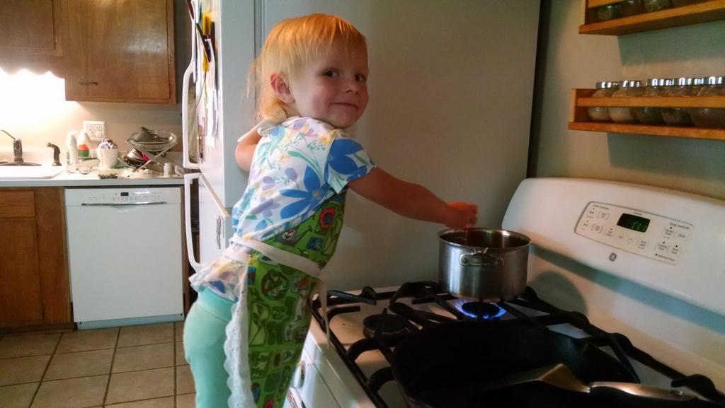 Ellen helping me make ice cream.