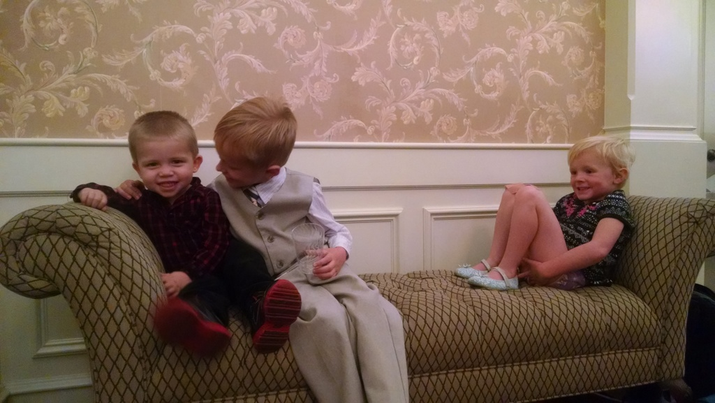 Cousins at their great grandpa Olsen's viewing.