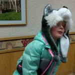 We stopped at a Wendy's on our drive to Glenna's funeral. She wore this hat and howled . . .