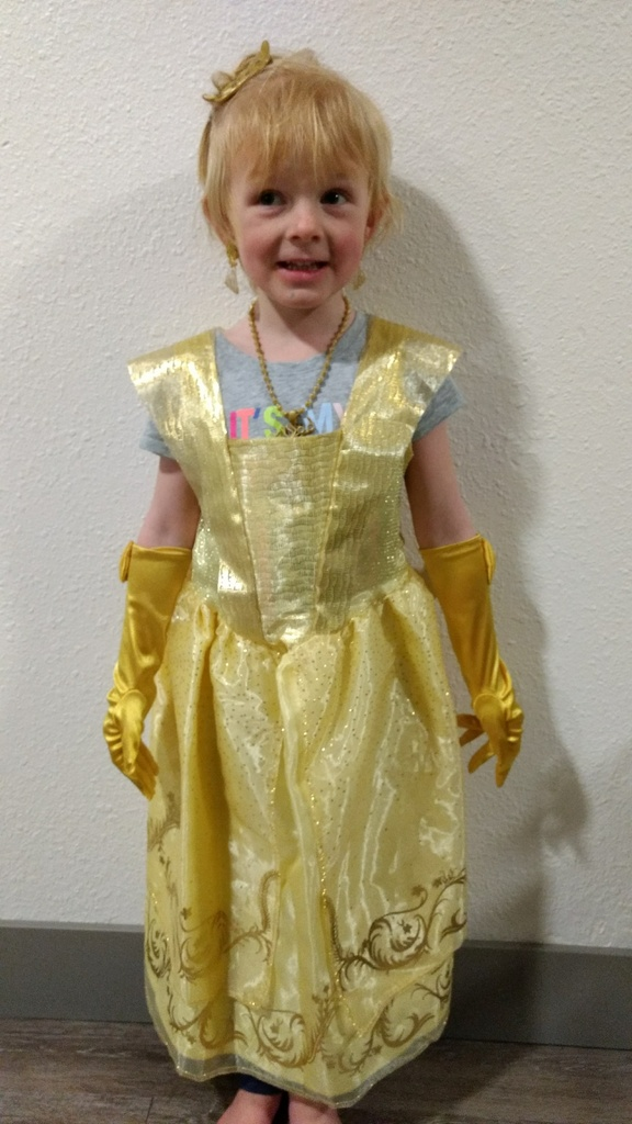 Ellen in her Belle outfit from Noel's aunts.