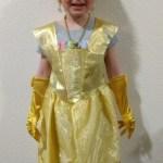 Ellen in her Belle outfit from Noel's aunts.