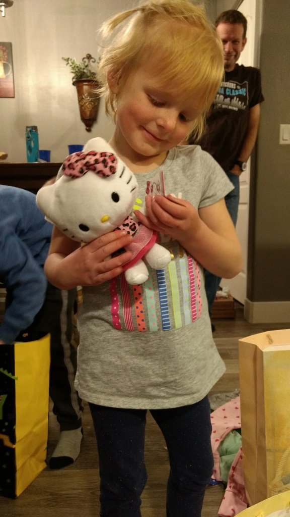 This Hello Kitty from Uncle Spencer and soon to be Aunt Sarah was especially well received.