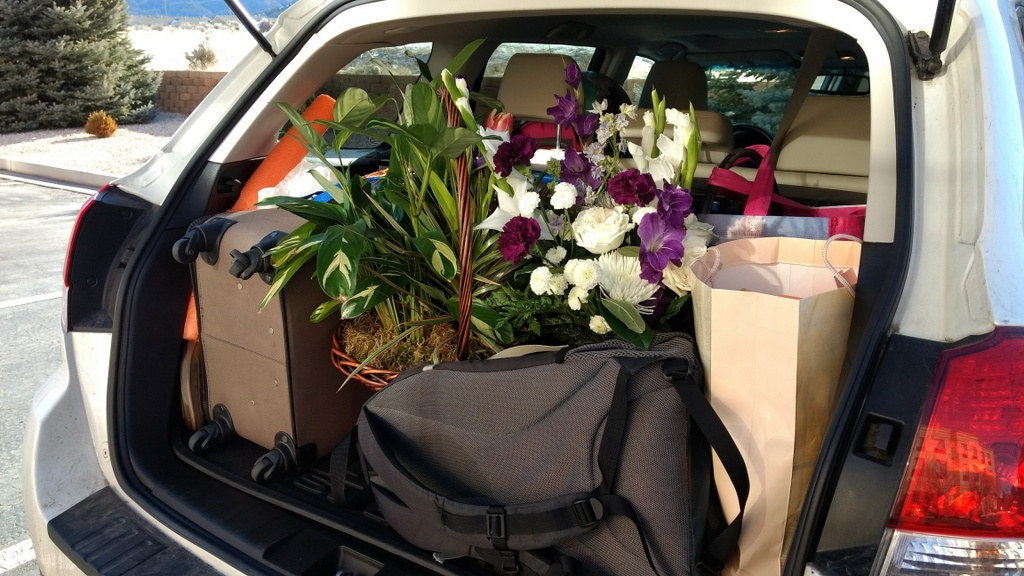We were like a traveling florist shop because of flowers from the funeral. So fragrant!