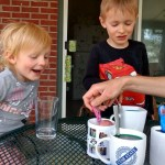 Coloring eggs on the porch.