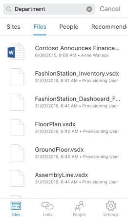 sharepoint file search mobile app ios
