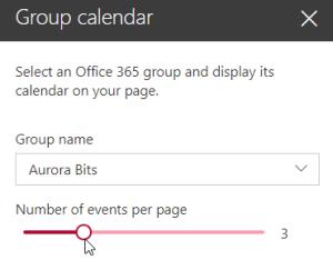 Group Calendar edit pane