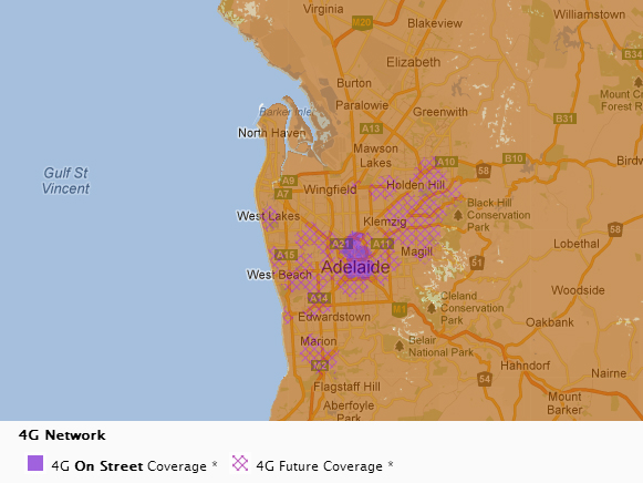 Adelaide 4G Map