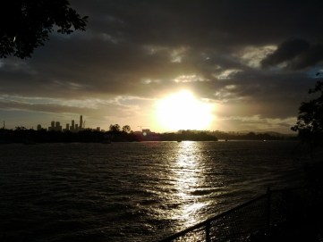 While I was jogging along the Brisbane River around sunset, I noticed that the reflections of the sun tracked a beam of light along the water which was beautiful.