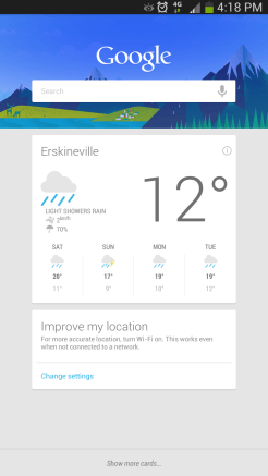Google Now gets plenty of room to breathe on the big 6.3 inch screen