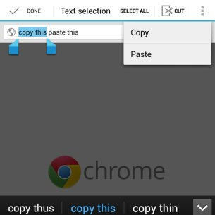 Cut / Copy / Paste controls don't fit on the 6.3 inch screen