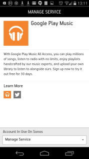 Find the Google Play Music service
