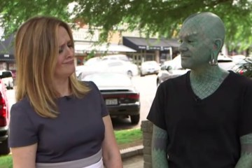"""The Daily Show"" contributor Samantha Bee talks to Austinite Erik Sprague, AKA ""The Lizardman."" Screenshot via Comedy Central."